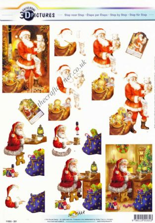Father Christmas Checking His List & Filling Stockings 3d Decoupage Sheet